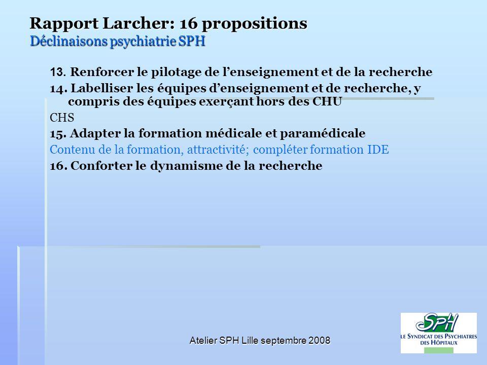 Atelier SPH Lille septembre 2008 Rapport Larcher: 16 propositions Déclinaisons psychiatrie SPH 13. Renforcer le pilotage de lenseignement et de la rec