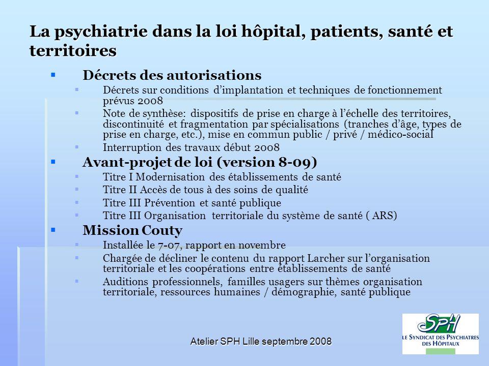 Atelier SPH Lille septembre 2008 La psychiatrie dans la loi hôpital, patients, santé et territoires Décrets des autorisations Décrets sur conditions d