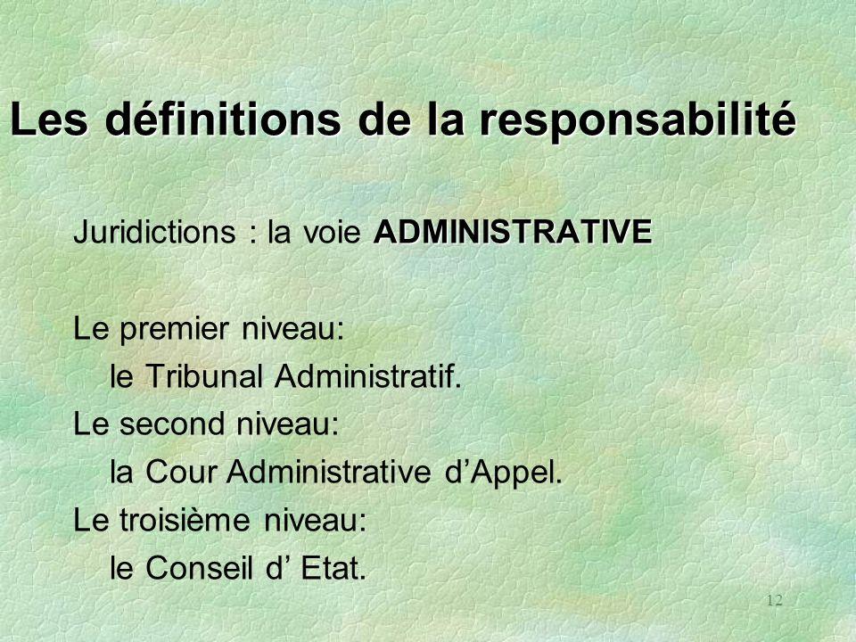 12 Les définitions de la responsabilité ADMINISTRATIVE Juridictions : la voie ADMINISTRATIVE Le premier niveau: le Tribunal Administratif. Le second n