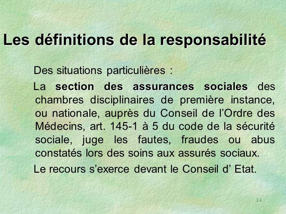 14 Les définitions de la responsabilité Des situations particulières : section des assurances sociales La section des assurances sociales des chambres