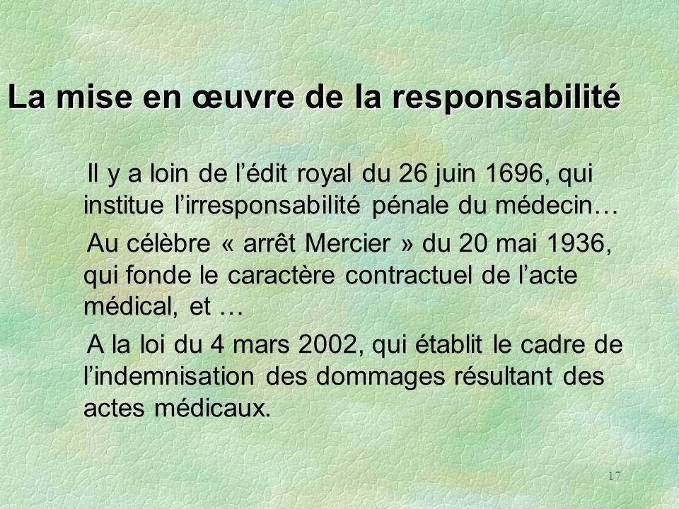 17 La mise en œuvre de la responsabilité Il y a loin de lédit royal du 26 juin 1696, qui institue lirresponsabilité pénale du médecin… Au célèbre « ar