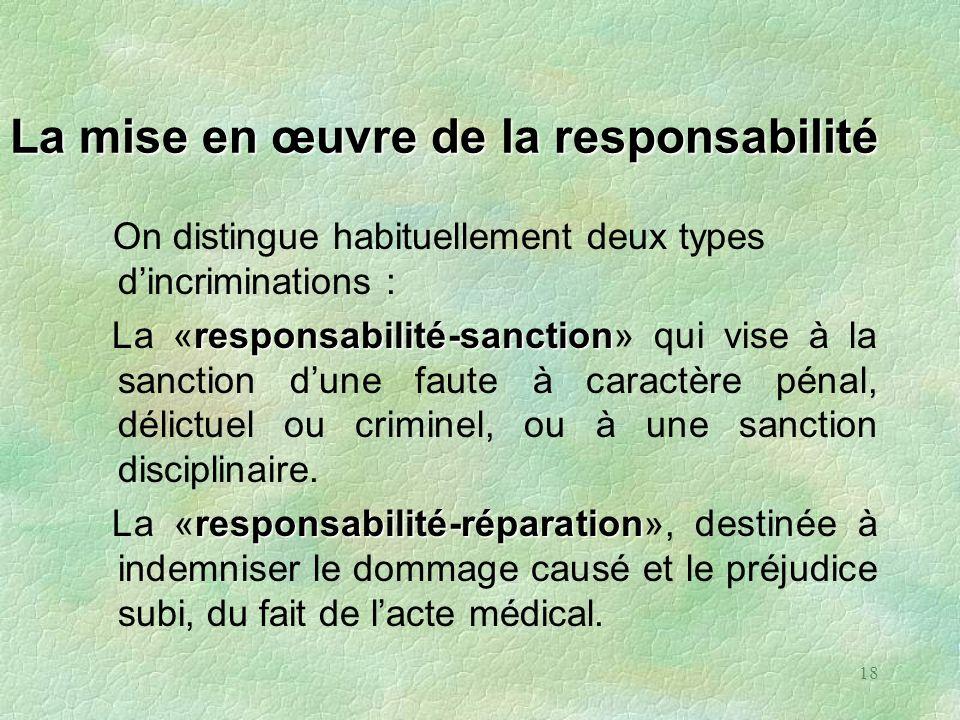 18 La mise en œuvre de la responsabilité On distingue habituellement deux types dincriminations : responsabilité-sanction La «responsabilité-sanction»