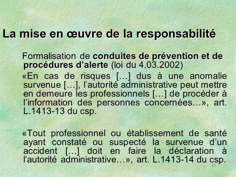 19 La mise en œuvre de la responsabilité conduites de prévention et de procédures dalerte Formalisation de conduites de prévention et de procédures da
