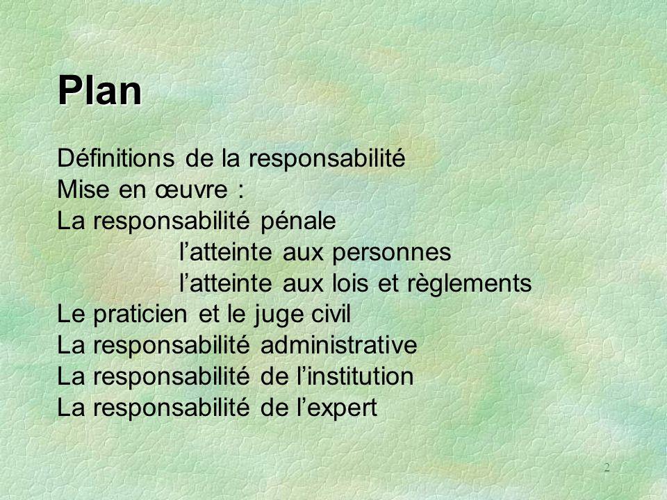 2 Plan Définitions de la responsabilité Mise en œuvre : La responsabilité pénale latteinte aux personnes latteinte aux lois et règlements Le praticien