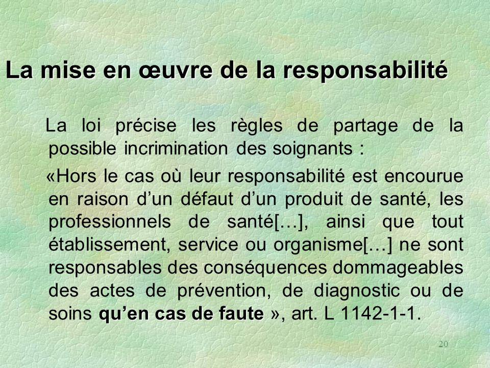 20 La mise en œuvre de la responsabilité La loi précise les règles de partage de la possible incrimination des soignants : quen cas de faute «Hors le
