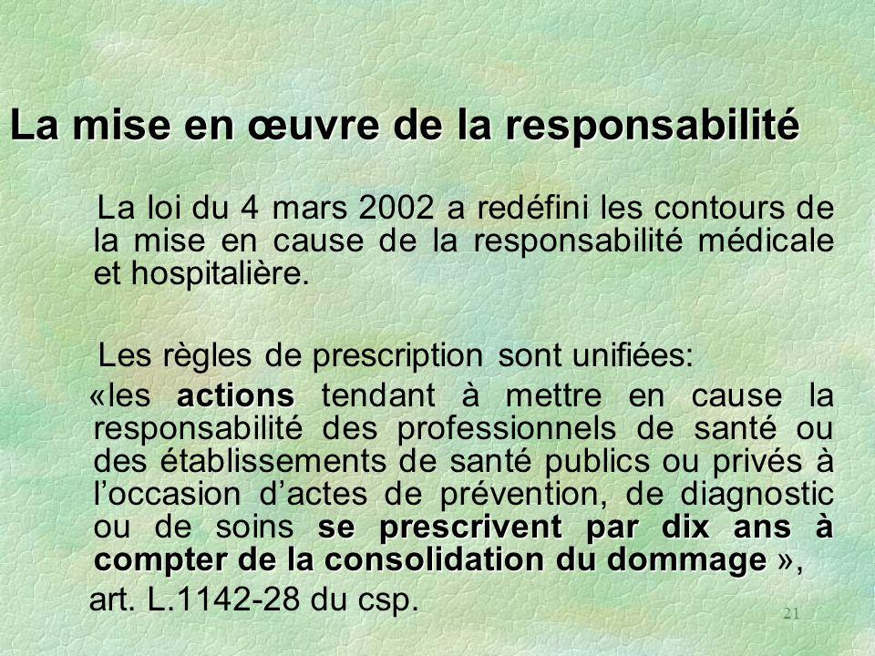 21 La mise en œuvre de la responsabilité La loi du 4 mars 2002 a redéfini les contours de la mise en cause de la responsabilité médicale et hospitaliè