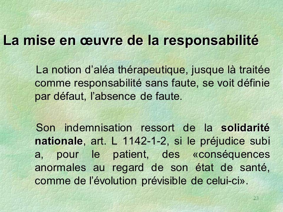 23 La mise en œuvre de la responsabilité La notion daléa thérapeutique, jusque là traitée comme responsabilité sans faute, se voit définie par défaut,