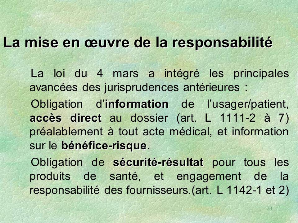 24 La mise en œuvre de la responsabilité La loi du 4 mars a intégré les principales avancées des jurisprudences antérieures : information accès direct