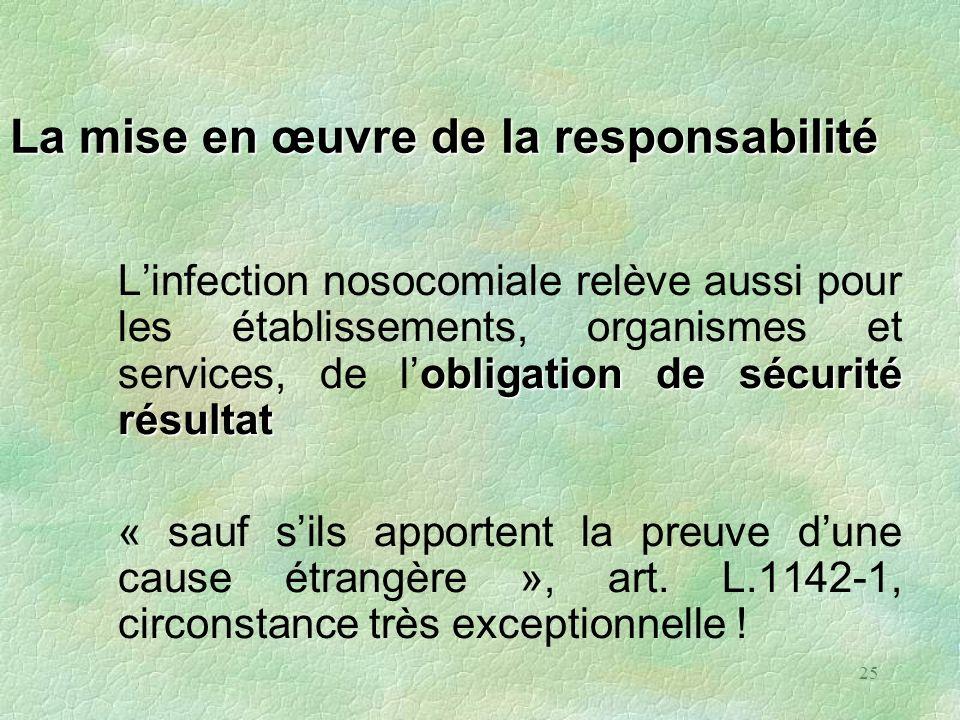 25 La mise en œuvre de la responsabilité obligationde sécurité résultat Linfection nosocomiale relève aussi pour les établissements, organismes et ser
