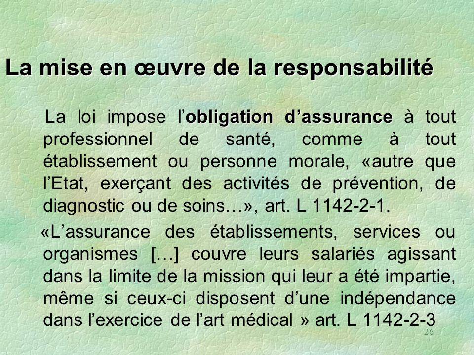 26 La mise en œuvre de la responsabilité obligationdassurance La loi impose lobligation dassurance à tout professionnel de santé, comme à tout établis