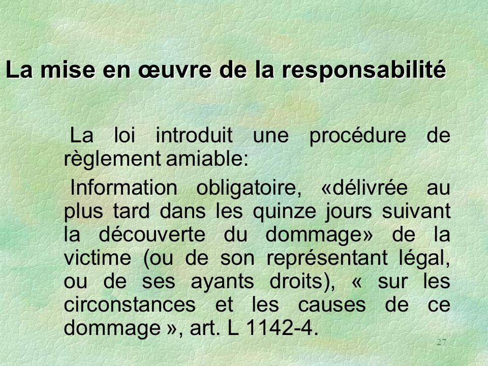 27 La mise en œuvre de la responsabilité La loi introduit une procédure de règlement amiable: Information obligatoire, «délivrée au plus tard dans les