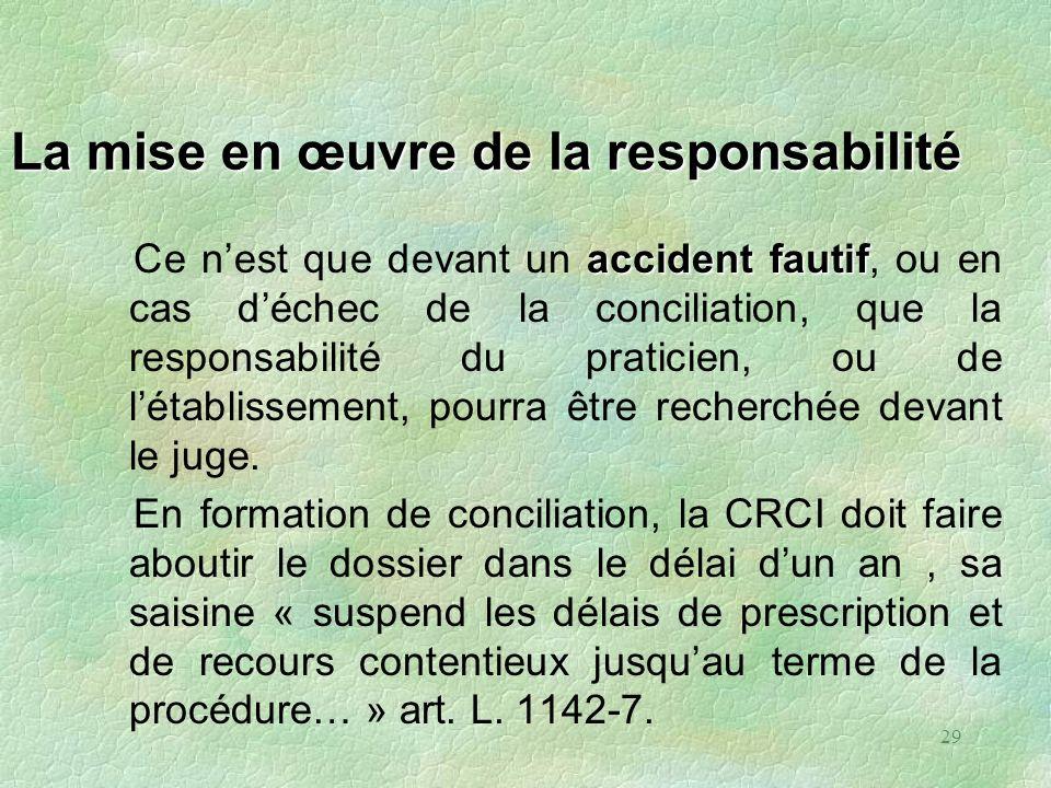 29 La mise en œuvre de la responsabilité accident fautif Ce nest que devant un accident fautif, ou en cas déchec de la conciliation, que la responsabi