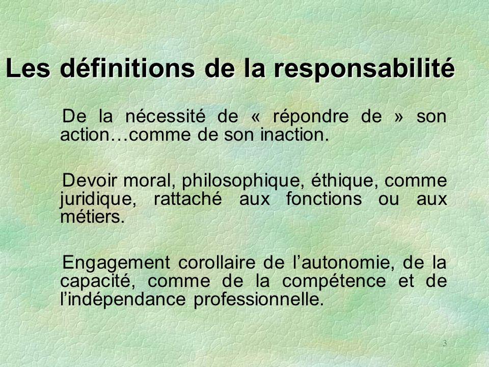 3 Les définitions de la responsabilité De la nécessité de « répondre de » son action…comme de son inaction. Devoir moral, philosophique, éthique, comm