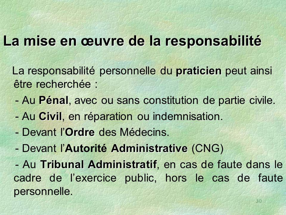 30 La mise en œuvre de la responsabilité praticien La responsabilité personnelle du praticien peut ainsi être recherchée : Pénal - Au Pénal, avec ou s