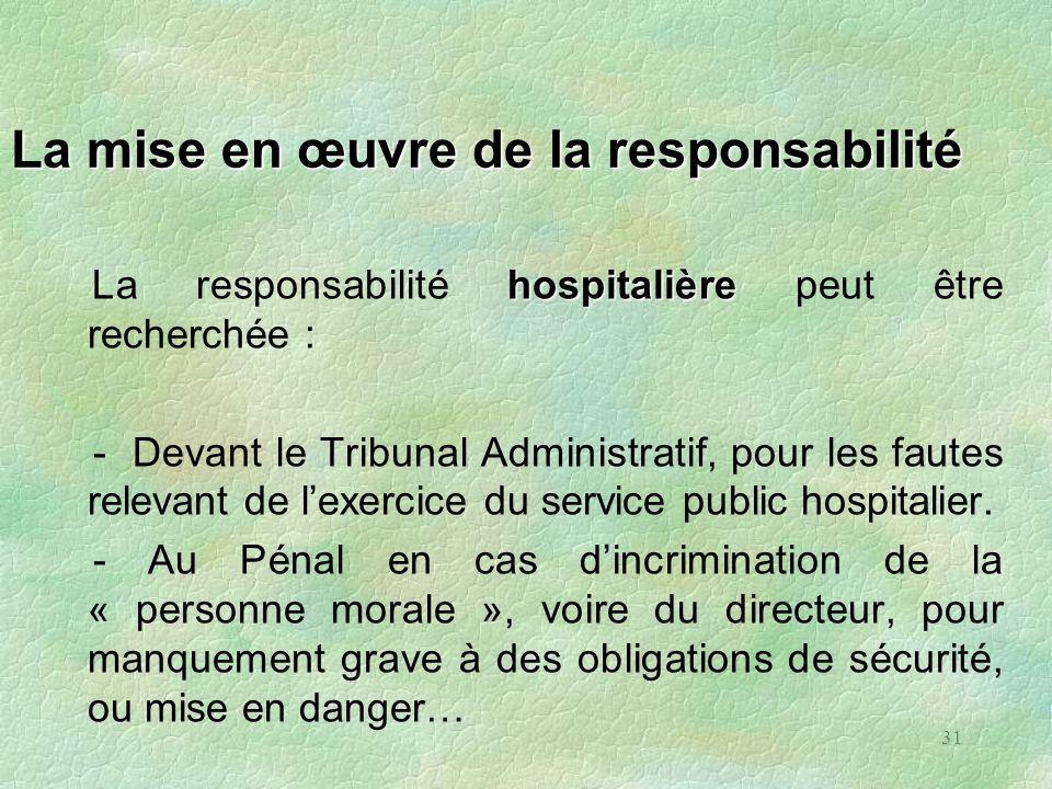 31 La mise en œuvre de la responsabilité hospitalière La responsabilité hospitalière peut être recherchée : - Devant le Tribunal Administratif, pour l