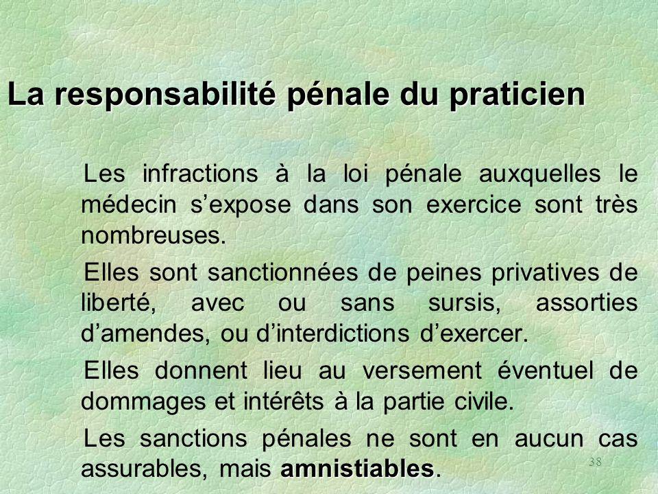 38 La responsabilité pénale du praticien Les infractions à la loi pénale auxquelles le médecin sexpose dans son exercice sont très nombreuses. Elles s