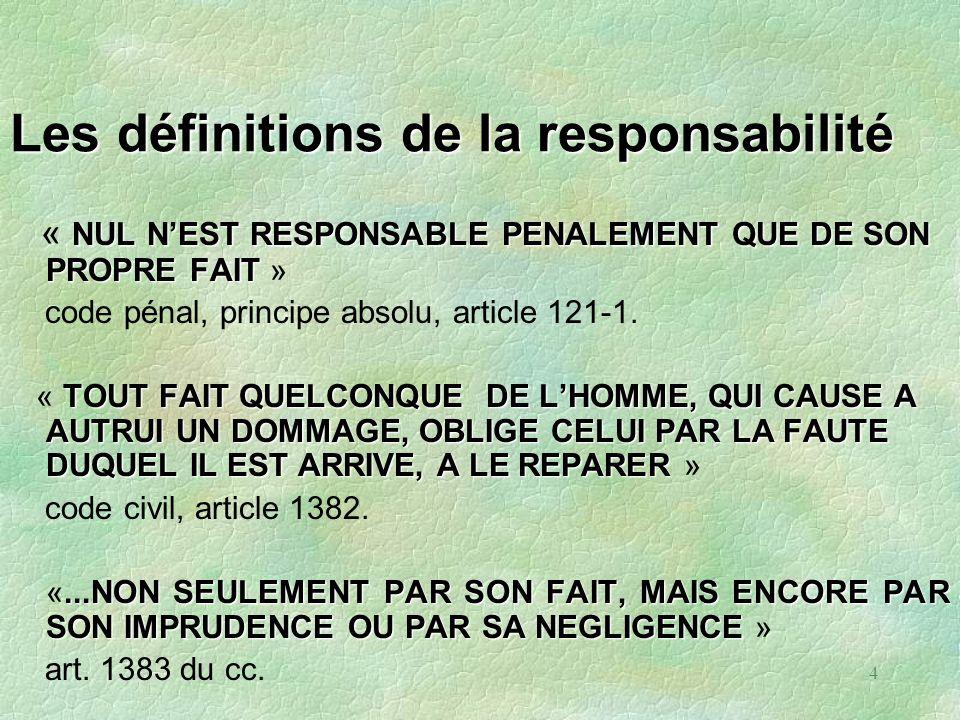 4 Les définitions de la responsabilité NUL NEST RESPONSABLE PENALEMENT QUE DE SON PROPRE FAIT « NUL NEST RESPONSABLE PENALEMENT QUE DE SON PROPRE FAIT