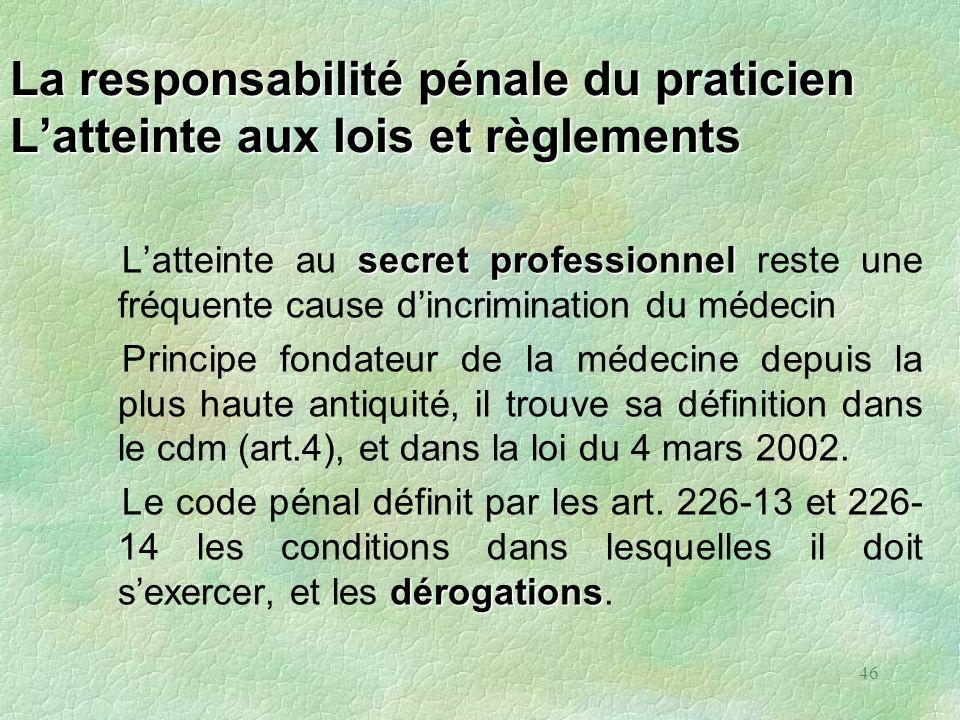 46 La responsabilité pénale du praticien Latteinte aux lois et règlements secret professionnel Latteinte au secret professionnel reste une fréquente c