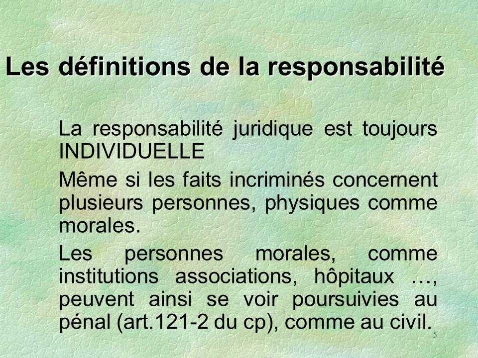 5 Les définitions de la responsabilité La responsabilité juridique est toujours INDIVIDUELLE Même si les faits incriminés concernent plusieurs personn