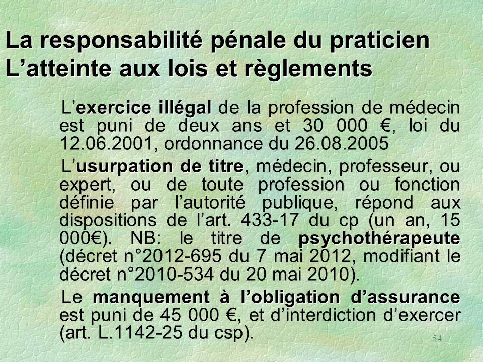 54 La responsabilité pénale du praticien Latteinte aux lois et règlements exerciceillégal Lexercice illégal de la profession de médecin est puni de de