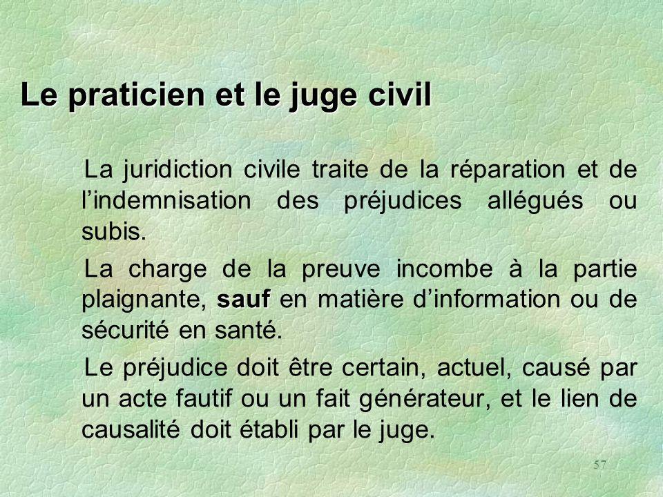 57 Le praticien et le juge civil La juridiction civile traite de la réparation et de lindemnisation des préjudices allégués ou subis. sauf La charge d