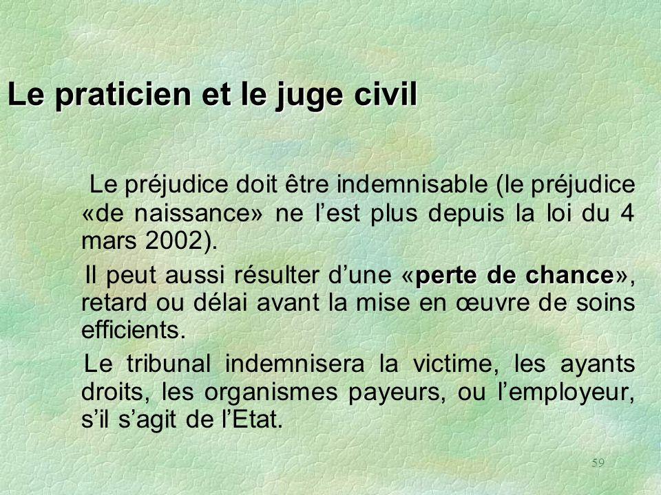 59 Le praticien et le juge civil Le préjudice doit être indemnisable (le préjudice «de naissance» ne lest plus depuis la loi du 4 mars 2002). perte de