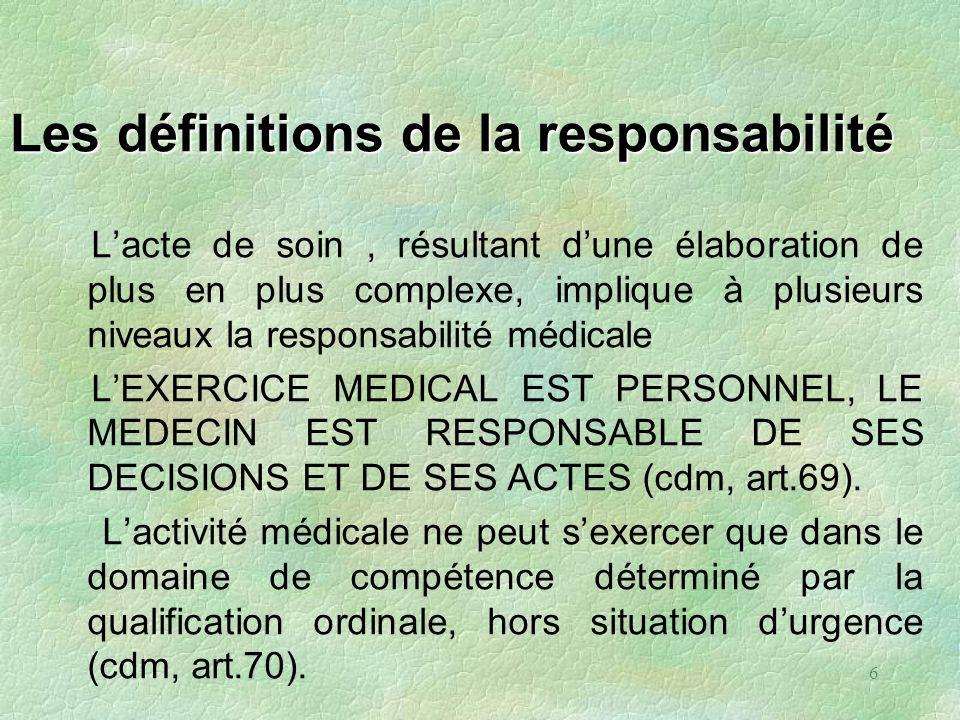 6 Les définitions de la responsabilité Lacte de soin, résultant dune élaboration de plus en plus complexe, implique à plusieurs niveaux la responsabil