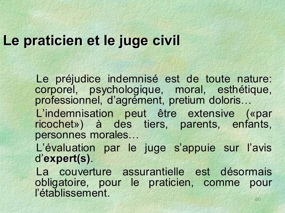 60 Le praticien et le juge civil Le préjudice indemnisé est de toute nature: corporel, psychologique, moral, esthétique, professionnel, dagrément, pre