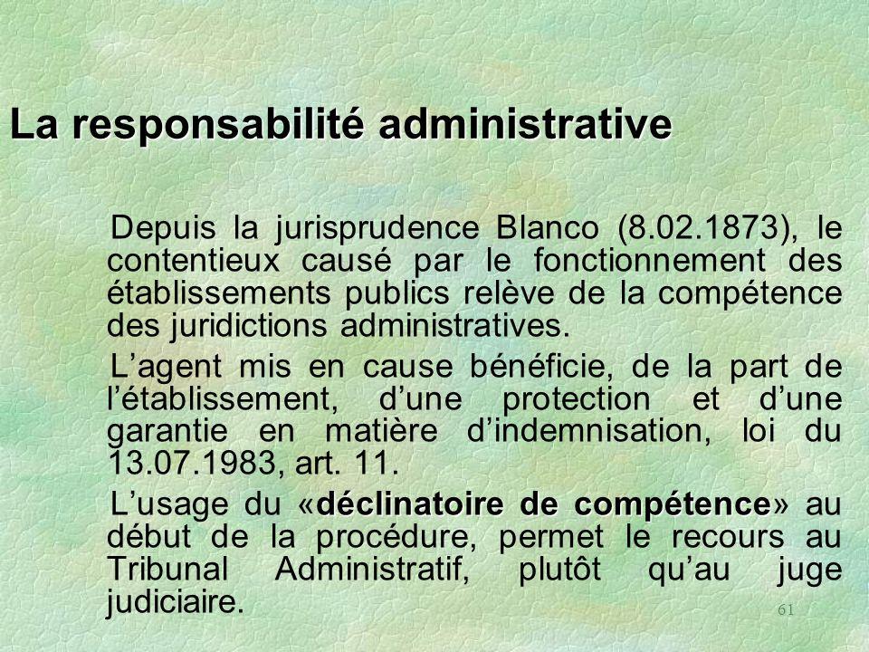 61 La responsabilité administrative Depuis la jurisprudence Blanco (8.02.1873), le contentieux causé par le fonctionnement des établissements publics