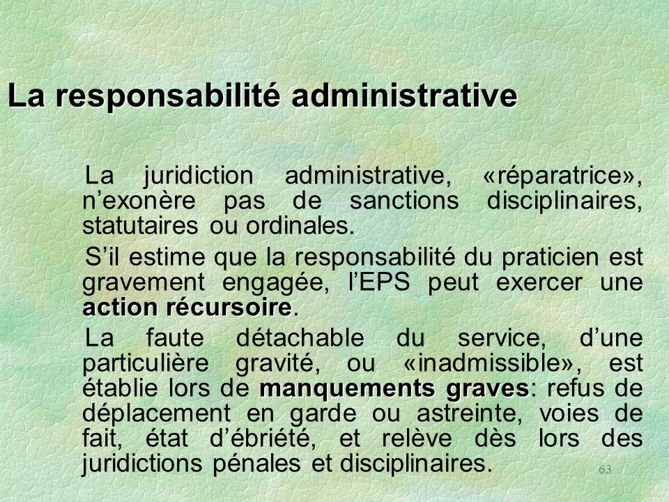 63 La responsabilité administrative La juridiction administrative, «réparatrice», nexonère pas de sanctions disciplinaires, statutaires ou ordinales.