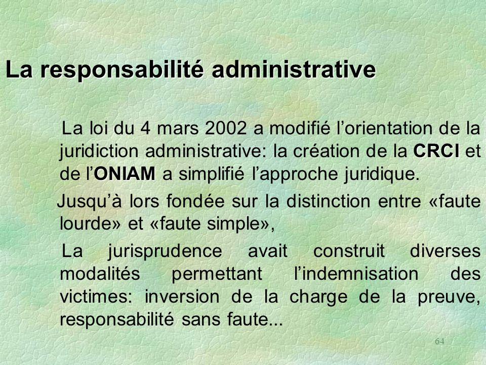 64 La responsabilité administrative CRCI ONIAM La loi du 4 mars 2002 a modifié lorientation de la juridiction administrative: la création de la CRCI e