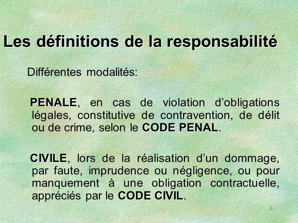8 Les définitions de la responsabilité Différentes modalités: PENALE CODE PENAL PENALE, en cas de violation dobligations légales, constitutive de cont