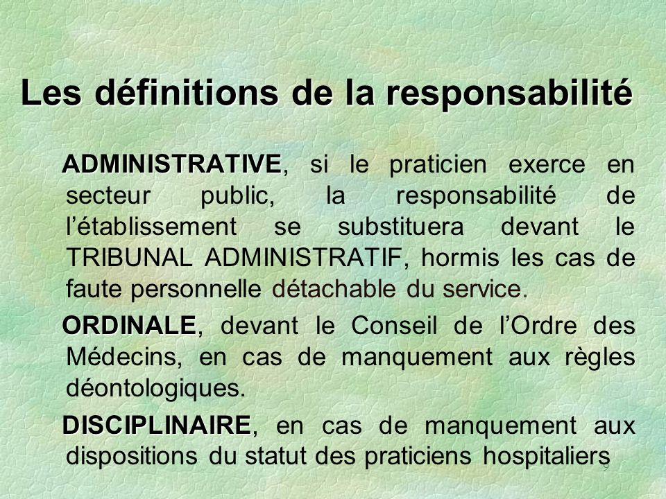 9 Les définitions de la responsabilité ADMINISTRATIVE ADMINISTRATIVE, si le praticien exerce en secteur public, la responsabilité de létablissement se