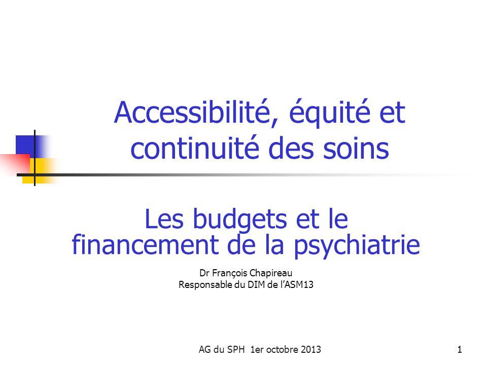 AG du SPH 1er octobre 20131 Accessibilité, équité et continuité des soins Les budgets et le financement de la psychiatrie Dr François Chapireau Respon