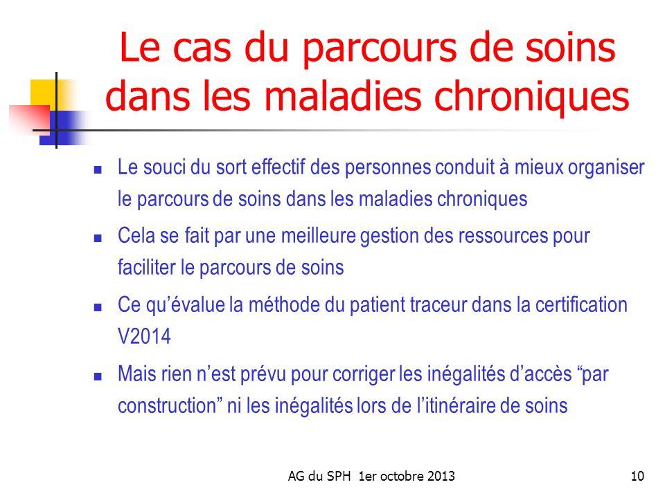 AG du SPH 1er octobre 201310 Le cas du parcours de soins dans les maladies chroniques Le souci du sort effectif des personnes conduit à mieux organise