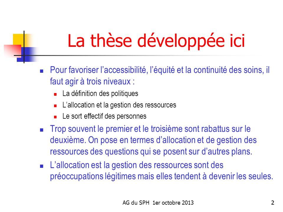 AG du SPH 1er octobre 20132 La thèse développée ici Pour favoriser laccessibilité, léquité et la continuité des soins, il faut agir à trois niveaux :