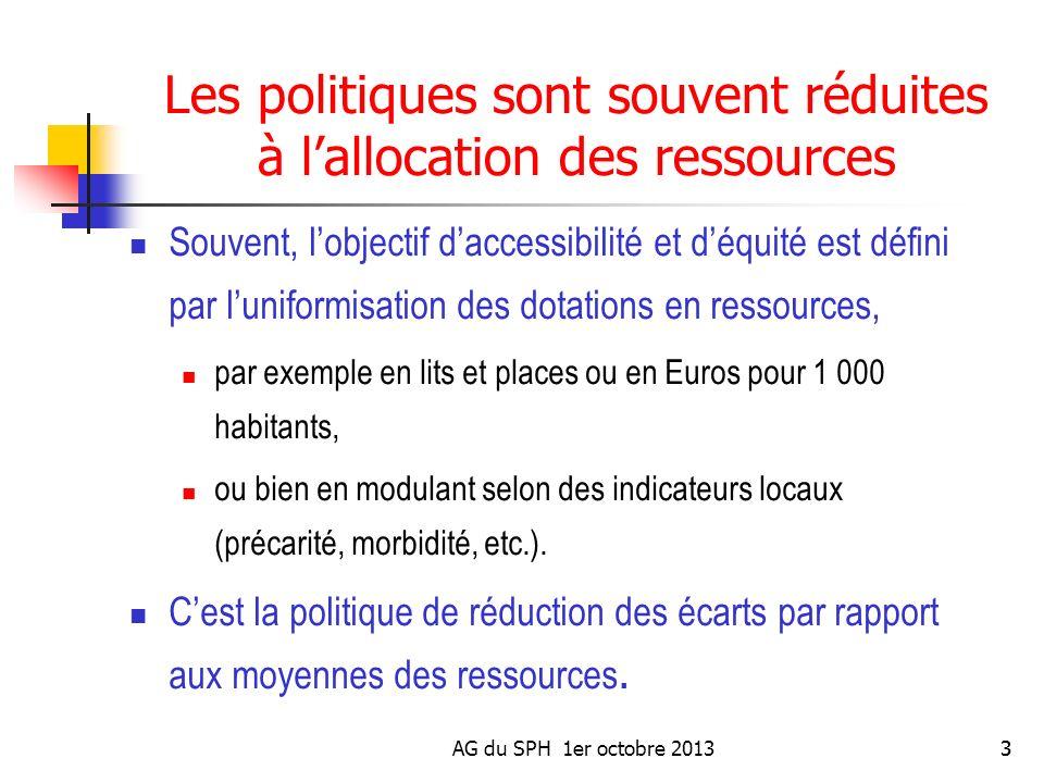 AG du SPH 1er octobre 20133 Les politiques sont souvent réduites à lallocation des ressources Souvent, lobjectif daccessibilité et déquité est défini