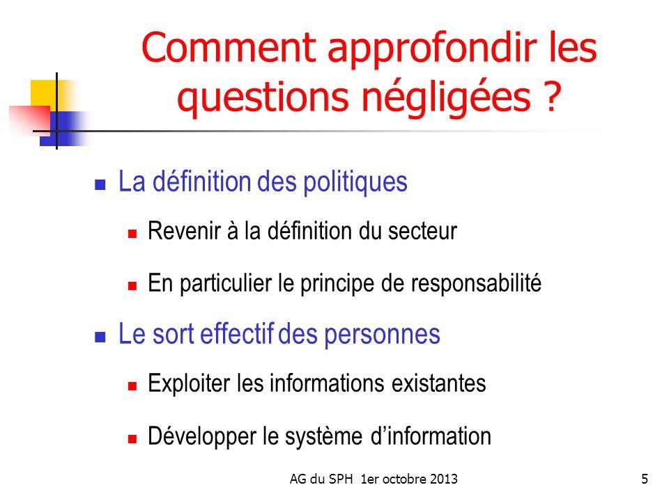 AG du SPH 1er octobre 20135 Comment approfondir les questions négligées ? La définition des politiques Revenir à la définition du secteur En particuli