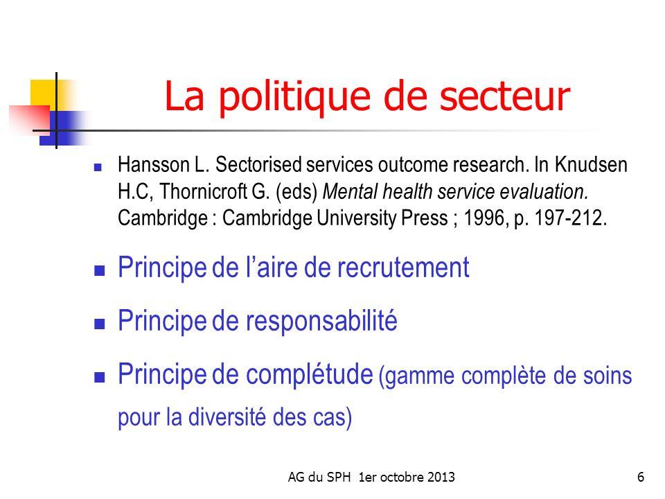 AG du SPH 1er octobre 20136 La politique de secteur Hansson L. Sectorised services outcome research. In Knudsen H.C, Thornicroft G. (eds) Mental healt