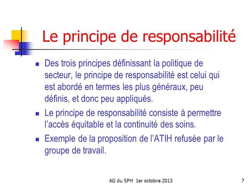 AG du SPH 1er octobre 20137 Le principe de responsabilité Des trois principes définissant la politique de secteur, le principe de responsabilité est c