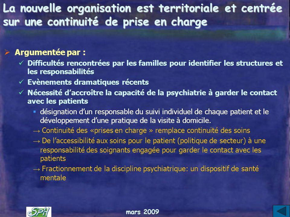 mars 2009 Une politique novatrice de la santé mentale selon le rapport Couty Au nom de 3 principes : La psychiatrie dans la santé mentale une spéciali