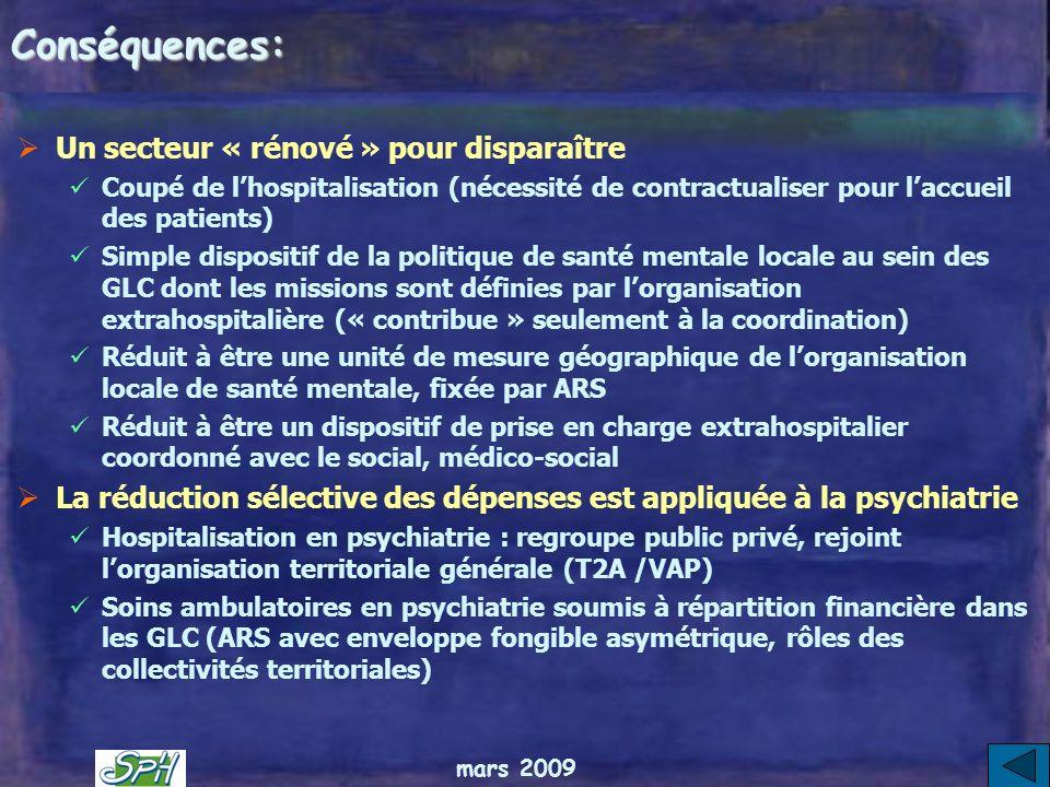 mars 2009 Au total : le rapport Couty propose une réorganisation de la psychiatrie pour quelle sadapte à la loi HPST Les principes de la loi HPST sont