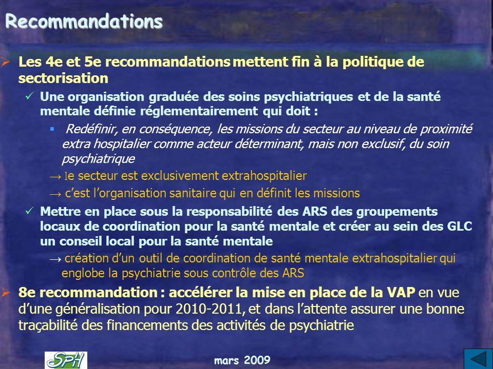 mars 2009 Les recommandations Les 3 premières recommandations visent à renforcer le rôle des usagers et familles: Etendre la représentation institutio