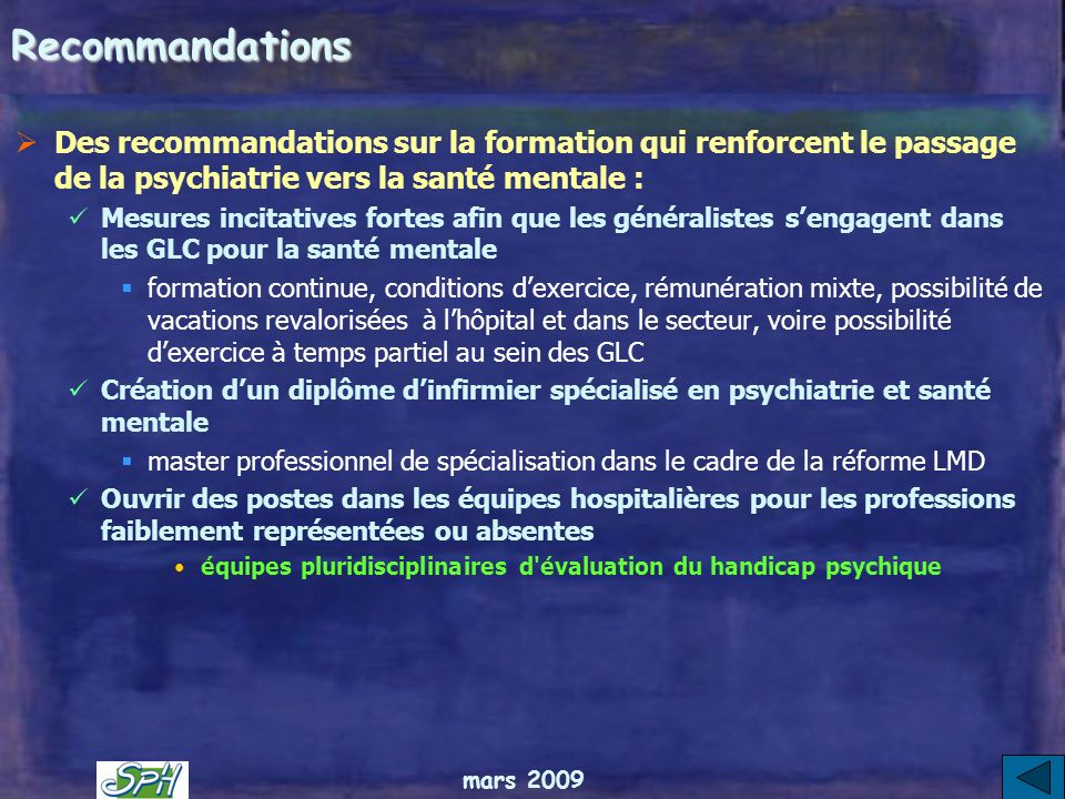 mars 2009 Recommandations Les problèmes des soins en prison tiennent dans une seule 9e recommandation : renforcer la coordination entre le ministère d