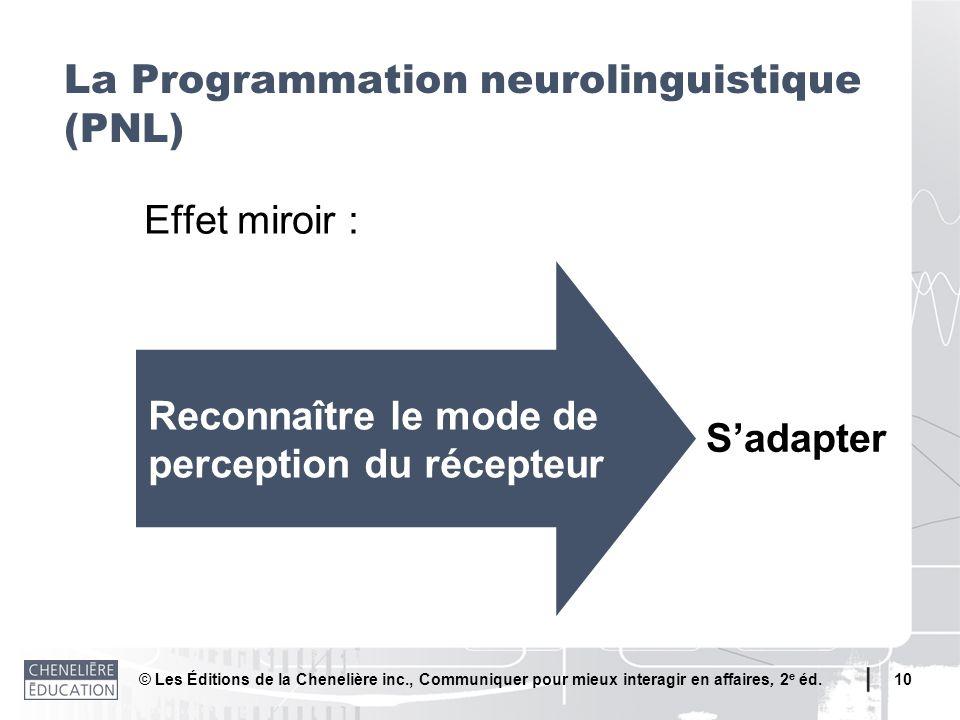 © Les Éditions de la Chenelière inc., Communiquer pour mieux interagir en affaires, 2 e éd. 10 La Programmation neurolinguistique (PNL) Effet miroir :