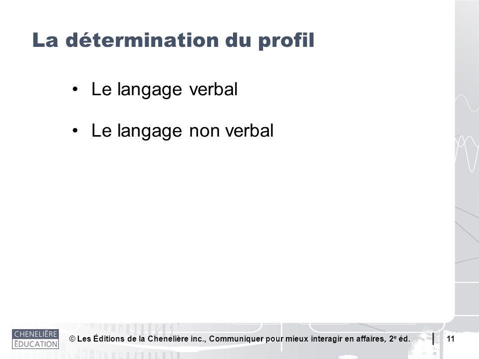 © Les Éditions de la Chenelière inc., Communiquer pour mieux interagir en affaires, 2 e éd. 11 La détermination du profil Le langage verbal Le langage