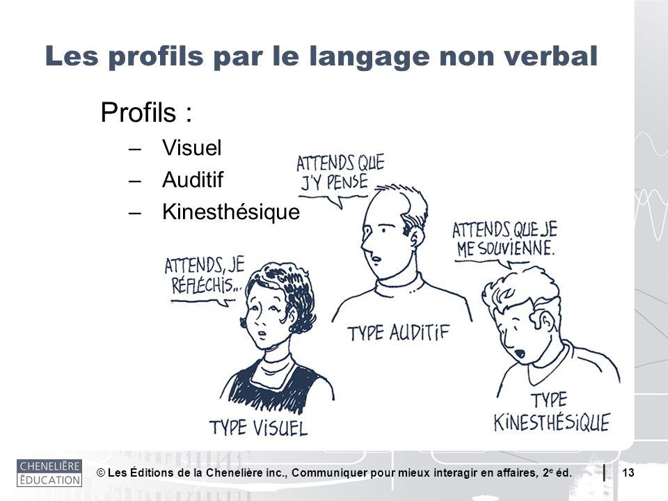 © Les Éditions de la Chenelière inc., Communiquer pour mieux interagir en affaires, 2 e éd. 13 Profils : –Visuel –Auditif –Kinesthésique Les profils p