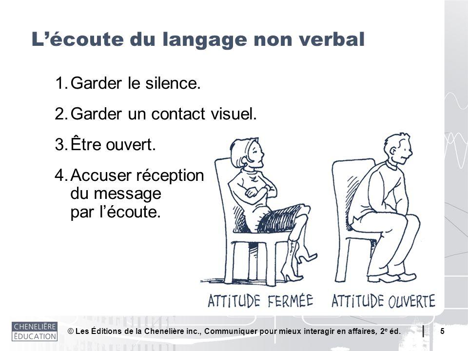 © Les Éditions de la Chenelière inc., Communiquer pour mieux interagir en affaires, 2 e éd. 5 1.Garder le silence. 2.Garder un contact visuel. 3.Être