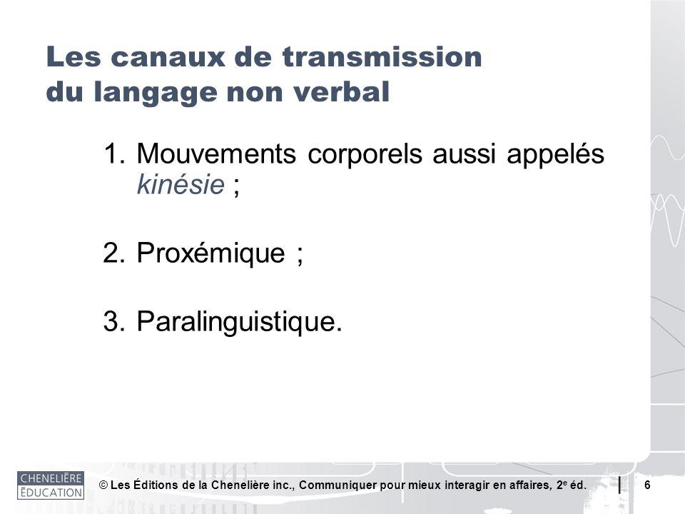 © Les Éditions de la Chenelière inc., Communiquer pour mieux interagir en affaires, 2 e éd. 6 1.Mouvements corporels aussi appelés kinésie ; 2.Proxémi