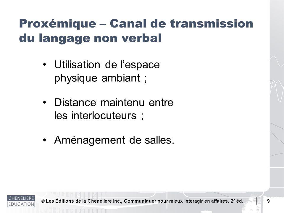© Les Éditions de la Chenelière inc., Communiquer pour mieux interagir en affaires, 2 e éd. 9 Proxémique – Canal de transmission du langage non verbal